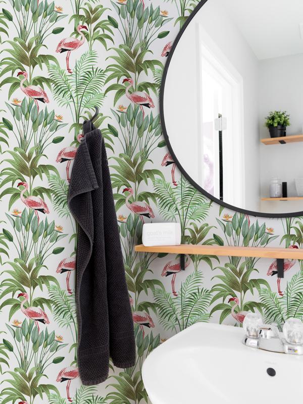 Hello Sticky - Shop - Peel &Amp;Amp; Stick Removable Wallpaper - Urban Jungle Wallpaper - Tropical Flamingos - Main View