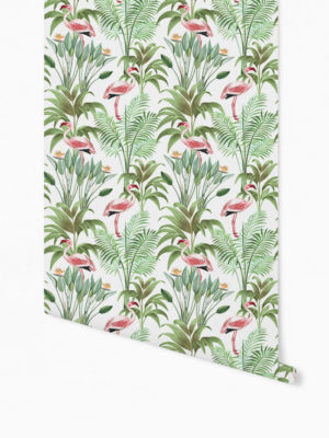 Hello Sticky - Shop - Peel &Amp; Stick Removable Wallpaper - Urban Jungle Wallpaper - Tropical Flamingos - Roll 1 View