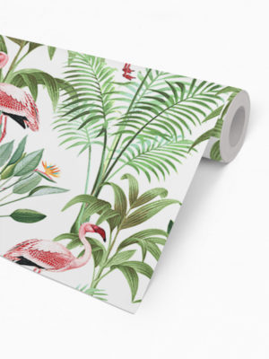 Hello Sticky - Shop - Peel &Amp; Stick Removable Wallpaper - Urban Jungle Wallpaper - Tropical Flamingos - Roll 2 View