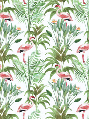 Hello Sticky - Shop - Peel &Amp; Stick Removable Wallpaper - Urban Jungle Wallpaper - Tropical Flamingos - Zoomed In View