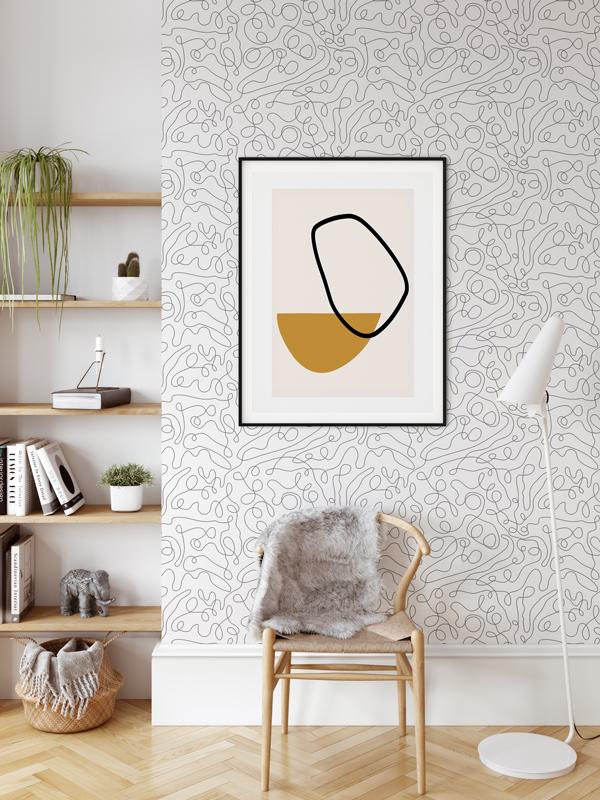 Hello Sticky - Shop - Peel &Amp;Amp; Stick Removable Wallpaper - Modern Farmhouse Wallpaper - Monoline - Main View