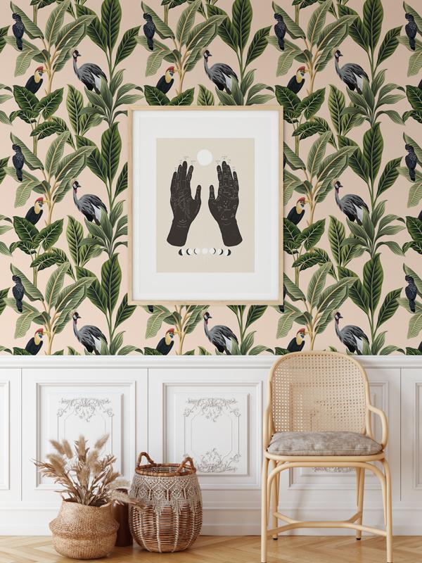 Hello Sticky - Shop - Peel &Amp;Amp; Stick Removable Wallpaper - Urban Jungle Wallpaper - Birds Of Paradise - Main View