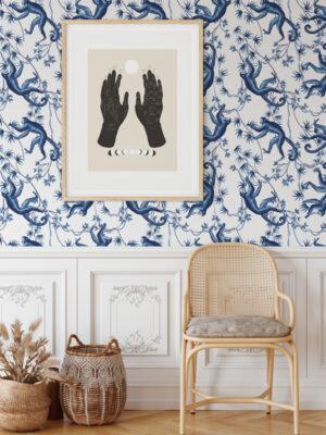 Hello Sticky - Shop - Peel & Stick Removable Wallpaper - Urban Jungle Wallpaper - Monkey Business - Main View