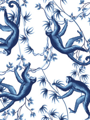Hello Sticky - Shop - Peel &Amp; Stick Removable Wallpaper - Urban Jungle Wallpaper - Monkey Business - Zoomed In View