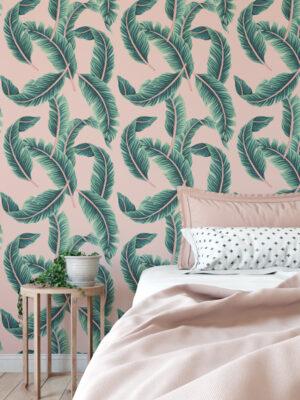 Hello Sticky - Shop - Peel & Stick Removable Wallpaper - Urban Jungle Wallpaper - Pink & Palm - Main View