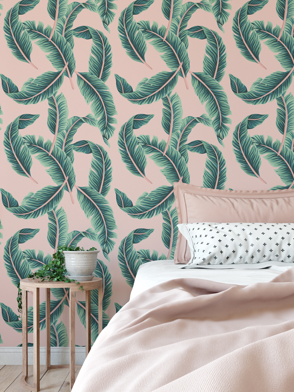 Hello Sticky - Shop - Peel &Amp;Amp; Stick Removable Wallpaper - Urban Jungle Wallpaper - Pink &Amp;Amp; Palm - Main View