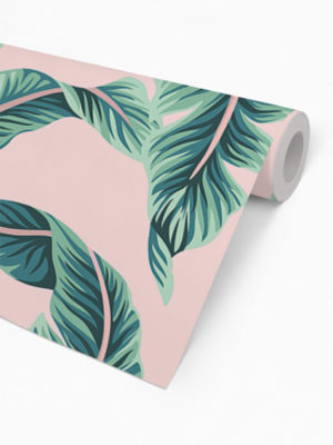 Hello Sticky - Shop - Peel &Amp; Stick Removable Wallpaper - Urban Jungle Wallpaper - Pink &Amp; Palm - Roll 2 View