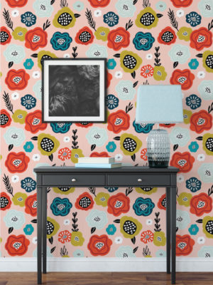 Hello Sticky - Shop - Peel & Stick Removable Wallpaper - Fruity & Floral Wallpaper - Abstract Bloom - Main View