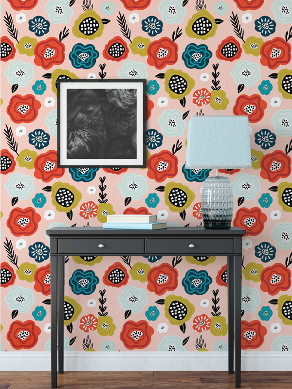 Hello Sticky - Shop - Peel &Amp;Amp; Stick Removable Wallpaper - Fruity &Amp;Amp; Floral Wallpaper - Abstract Bloom - Main View