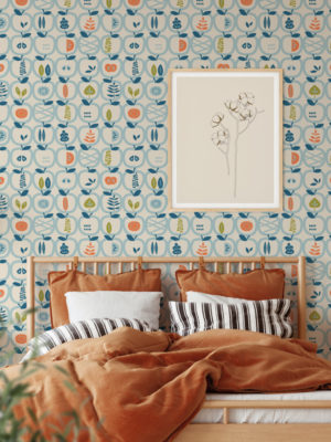 Hello Sticky - Shop - Peel & Stick Removable Wallpaper - Fruity & Floral Wallpaper - An Apple A Day - Main View