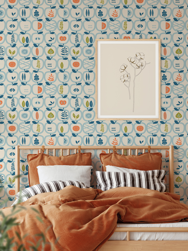 Hello Sticky - Shop - Peel &Amp;Amp; Stick Removable Wallpaper - Fruity &Amp;Amp; Floral Wallpaper - An Apple A Day - Main View