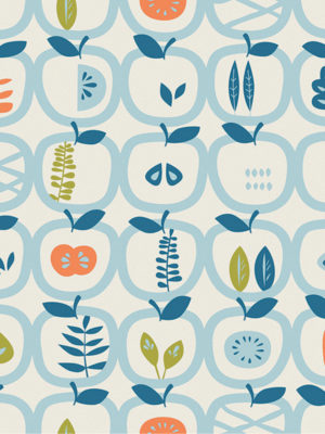 Hello Sticky - Shop - Peel &Amp; Stick Removable Wallpaper - Fruity &Amp; Floral Wallpaper - An Apple A Day - Zoomed In View