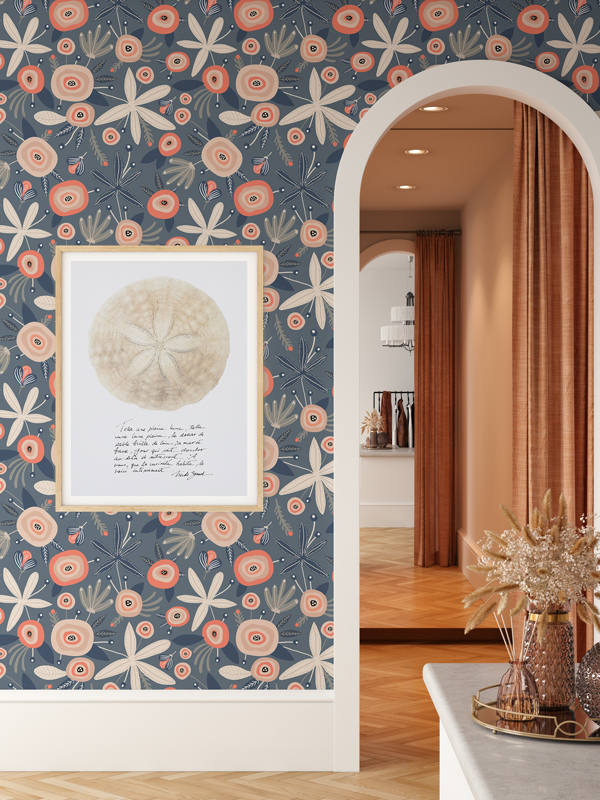 Hello Sticky - Shop - Peel &Amp;Amp; Stick Removable Wallpaper - Fruity &Amp;Amp; Floral Wallpaper - Blooming Blue - Main View