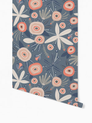 Hello Sticky - Shop - Peel &Amp; Stick Removable Wallpaper - Fruity &Amp; Floral Wallpaper - Blooming Blue - Roll 1 View