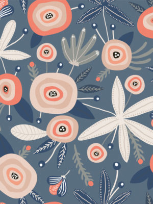 Hello Sticky - Shop - Peel &Amp; Stick Removable Wallpaper - Fruity &Amp; Floral Wallpaper - Blooming Blue - Zoomed In View