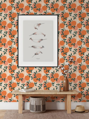 Hello Sticky - Shop - Peel & Stick Removable Wallpaper - Fruity & Floral Wallpaper - Mini Oranges - Main View