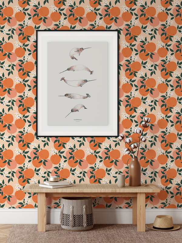 Hello Sticky - Shop - Peel &Amp;Amp; Stick Removable Wallpaper - Fruity &Amp;Amp; Floral Wallpaper - Mini Oranges - Main View