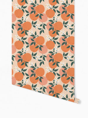 Hello Sticky - Shop - Peel &Amp; Stick Removable Wallpaper - Fruity &Amp; Floral Wallpaper - Mini Oranges - Roll 1 View