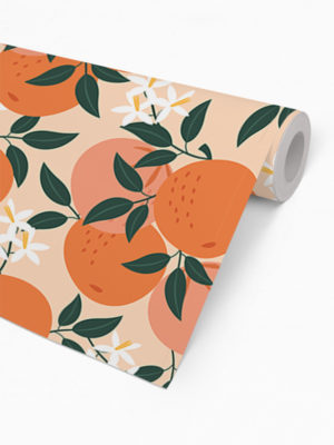 Hello Sticky - Shop - Peel &Amp; Stick Removable Wallpaper - Fruity &Amp; Floral Wallpaper - Mini Oranges - Roll 2 View