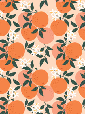 Hello Sticky - Shop - Peel &Amp; Stick Removable Wallpaper - Fruity &Amp; Floral Wallpaper - Mini Oranges - Zoomed In View