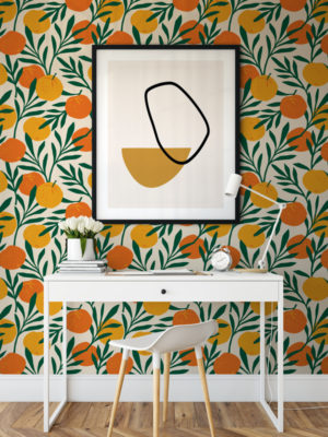 Hello Sticky - Shop - Peel & Stick Removable Wallpaper - Fruity & Floral Wallpaper - Orange Blossom - Main View