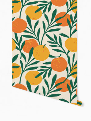 Hello Sticky - Shop - Peel &Amp; Stick Removable Wallpaper - Fruity &Amp; Floral Wallpaper - Orange Blossom - Roll 1 View