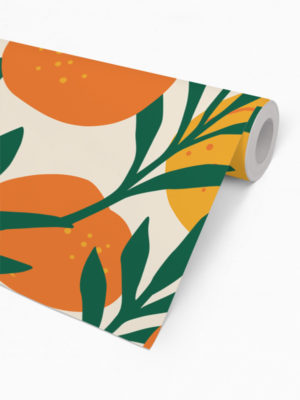 Hello Sticky - Shop - Peel &Amp; Stick Removable Wallpaper - Fruity &Amp; Floral Wallpaper - Orange Blossom - Roll 2 View
