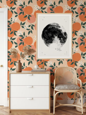 Hello Sticky - Shop - Peel & Stick Removable Wallpaper - Fruity & Floral Wallpaper - Orange You Glad - Main View