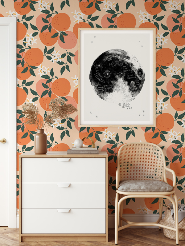 Hello Sticky - Shop - Peel &Amp;Amp; Stick Removable Wallpaper - Fruity &Amp;Amp; Floral Wallpaper - Orange You Glad - Main View