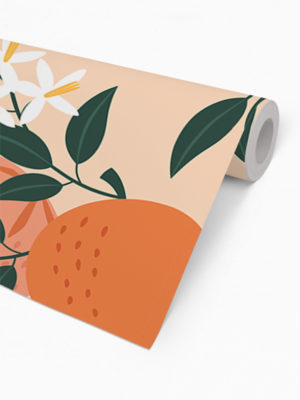 Hello Sticky - Shop - Peel &Amp; Stick Removable Wallpaper - Fruity &Amp; Floral Wallpaper - Orange You Glad - Roll 2 View