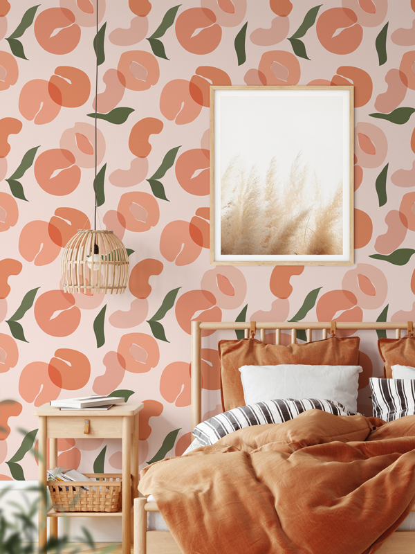 Hello Sticky - Shop - Peel &Amp;Amp; Stick Removable Wallpaper - Fruity &Amp;Amp; Floral Wallpaper - Pretty As A Peach - Main View