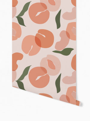 Hello Sticky - Shop - Peel &Amp; Stick Removable Wallpaper - Fruity &Amp; Floral Wallpaper - Pretty As A Peach - Roll 1 View