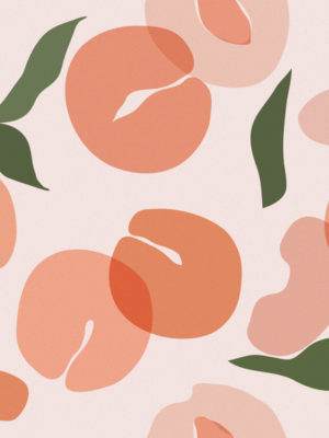 Hello Sticky - Shop - Peel &Amp; Stick Removable Wallpaper - Fruity &Amp; Floral Wallpaper - Pretty As A Peach - Zoomed In View