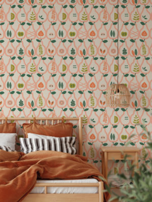 Hello Sticky - Shop - Peel & Stick Removable Wallpaper - Fruity & Floral Wallpaper - Vintage Pears - Main View