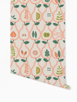 Hello Sticky - Shop - Peel &Amp; Stick Removable Wallpaper - Fruity &Amp; Floral Wallpaper - Vintage Pears - Roll 1 View