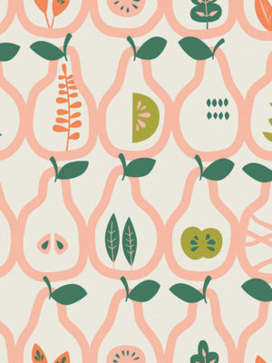 Hello Sticky - Shop - Peel &Amp; Stick Removable Wallpaper - Fruity &Amp; Floral Wallpaper - Vintage Pears - Zoomed In View