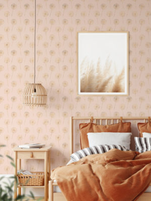 Hello Sticky - Shop - Peel & Stick Removable Wallpaper - Fruity & Floral Wallpaper - Whispering Dandelion - Main View