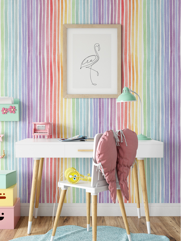 Hello Sticky - Shop - Peel &Amp;Amp; Stick Removable Wallpaper - Kids Wallpaper - Whimsical Rainbow - Main View