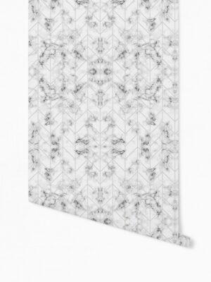 Hello Sticky - Shop - Peel &Amp; Stick Removable Wallpaper - Modern Farmhouse Wallpaper - Marble Herringbone - Roll 1 View