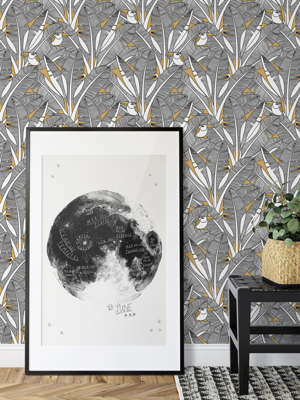 Hello Sticky - Shop - Peel &Amp;Amp; Stick Removable Wallpaper - Urban Jungle Wallpaper - Feathered Toucan - Main View