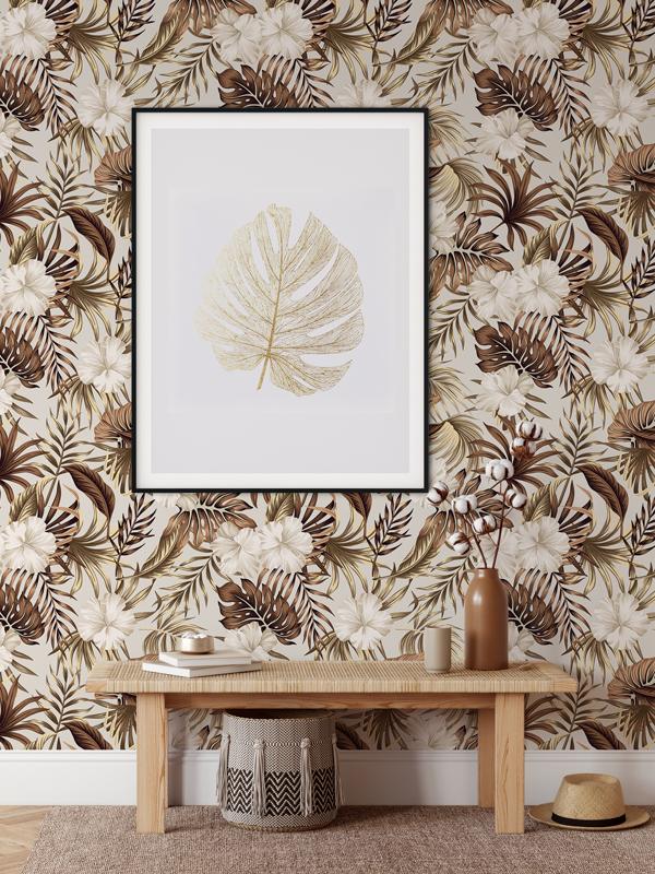 Hello Sticky - Shop - Peel &Amp;Amp; Stick Removable Wallpaper - Urban Jungle Wallpaper - Golden Palms - Main View