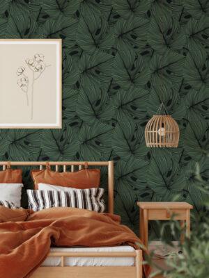 Hello Sticky - Shop - Peel & Stick Removable Wallpaper - Urban Jungle Wallpaper - Green Thumb - Main View