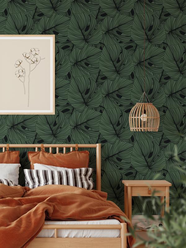 Hello Sticky - Shop - Peel &Amp;Amp; Stick Removable Wallpaper - Urban Jungle Wallpaper - Green Thumb - Main View