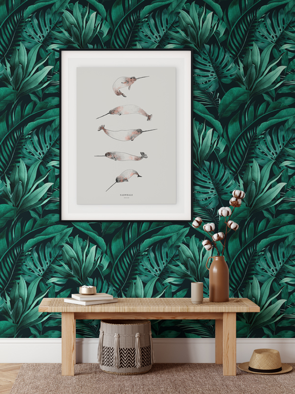 Hello Sticky - Shop - Peel &Amp;Amp; Stick Removable Wallpaper - Urban Jungle Wallpaper - Green With Envy - Main View