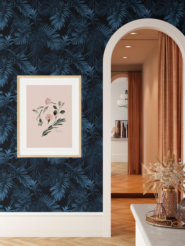 Hello Sticky - Shop - Peel &Amp;Amp; Stick Removable Wallpaper - Urban Jungle Wallpaper - Jungle Blues - Main View