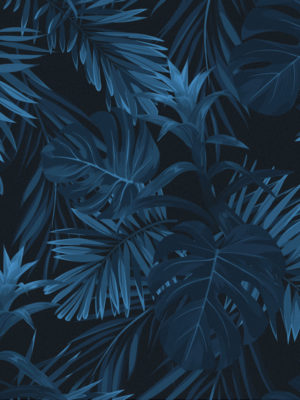 Hello Sticky - Shop - Peel &Amp; Stick Removable Wallpaper - Urban Jungle Wallpaper - Jungle Blues - Zoomed In View