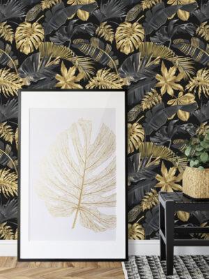 Hello Sticky - Shop - Peel & Stick Removable Wallpaper - Urban Jungle Wallpaper - Lushish Leaves - Main View