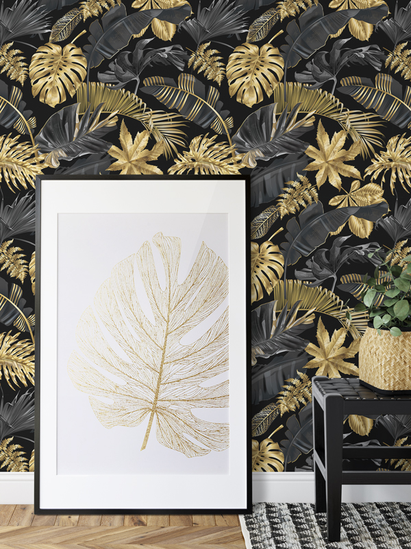 Hello Sticky - Shop - Peel &Amp;Amp; Stick Removable Wallpaper - Urban Jungle Wallpaper - Lushish Leaves - Main View
