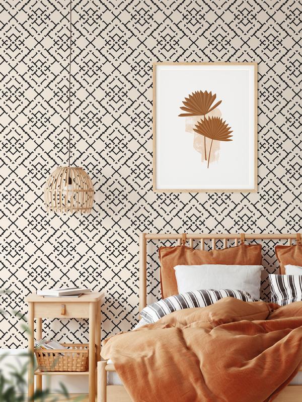 Hello Sticky - Shop - Peel &Amp;Amp; Stick Removable Wallpaper - Modern Farmhouse Wallpaper - Diamond Weave - Main View