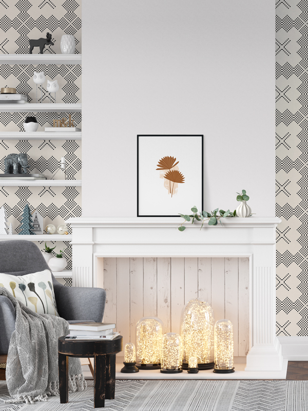 Hello Sticky - Shop - Peel &Amp;Amp; Stick Removable Wallpaper - Modern Farmhouse Wallpaper - Hatched - Main View